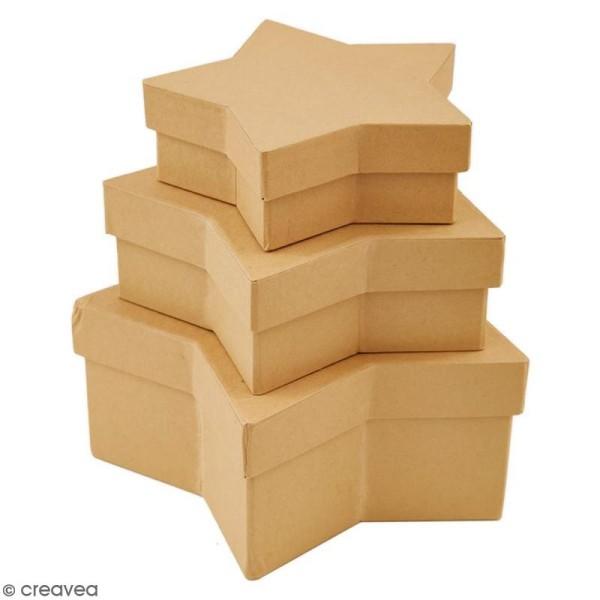 Boîtes gigognes en carton - Etoiles 19  cm - 3 pcs - Photo n°3