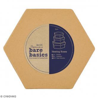 Boîtes gigognes en carton - Hexagones 15,5 cm - 3 pcs