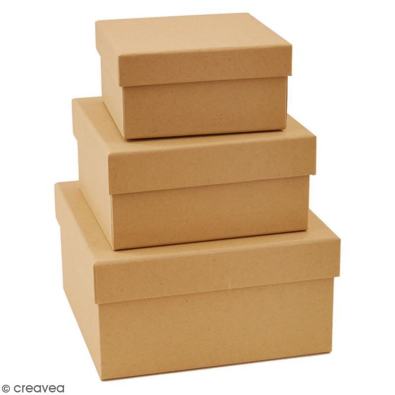 bo tes gigognes en carton carr s 15 cm 3 pcs boite en carton d corer creavea. Black Bedroom Furniture Sets. Home Design Ideas