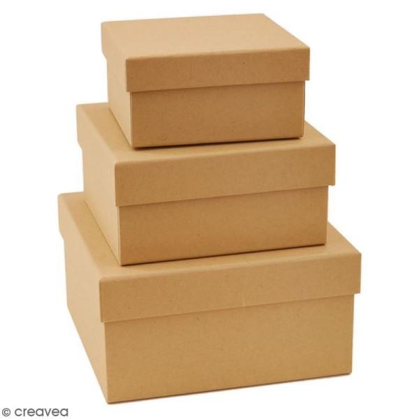 Boîtes gigognes en carton - Carrés 15 cm - 3 pcs - Photo n°3