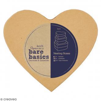 Boîtes gigognes en carton - Coeurs 14,5 cm - 3 pcs