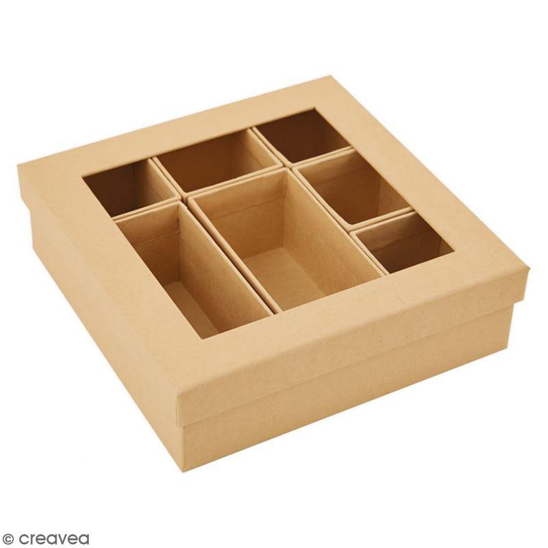 Shadow box à décorer - 15 x 15 cm - 7 cases - Photo n°2