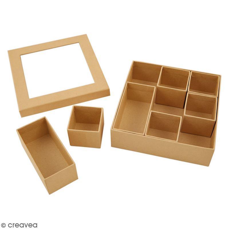 Shadow box à décorer - 15 x 15 cm - 7 cases - Photo n°3
