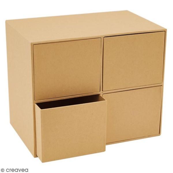 Boîte cube à tiroirs - 4 cases - 22,5 x 18,5 cm - Photo n°2