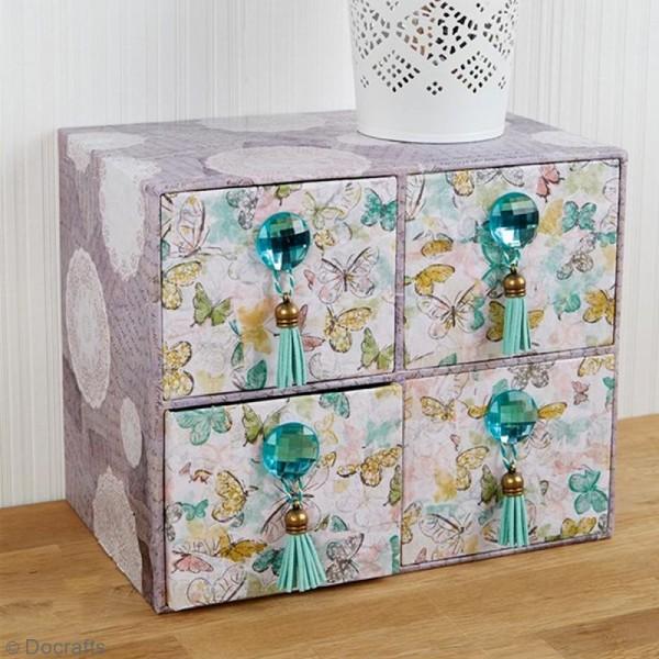 Boîte cube à tiroirs - 4 cases - 22,5 x 18,5 cm - Photo n°3