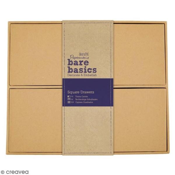 Boîte cube à tiroirs - 4 cases - 22,5 x 18,5 cm - Photo n°1