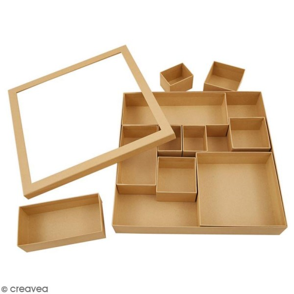 Shadow box à décorer - 30 x 30 cm - 10 cases - Photo n°2