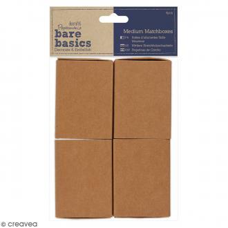Boîtes format allumettes vide à décorer - 7,3 x 5,4 x 2 cm - 4 pcs
