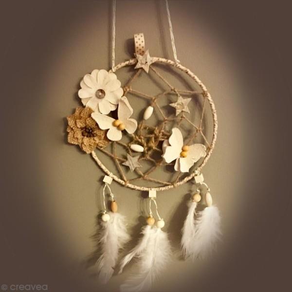 Fleurs perlées en toile de jute - 4,5 cm - 8 pcs - Photo n°2