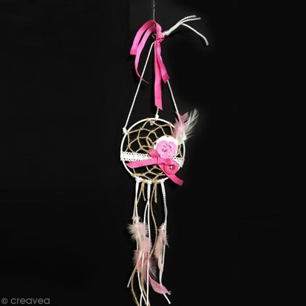 Fleurs perlées en toile de jute - 4,5 cm - 8 pcs - Photo n°6