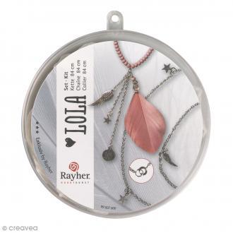 Kit bijoux - Chaine 84 cm avec plume rose et pendentifs