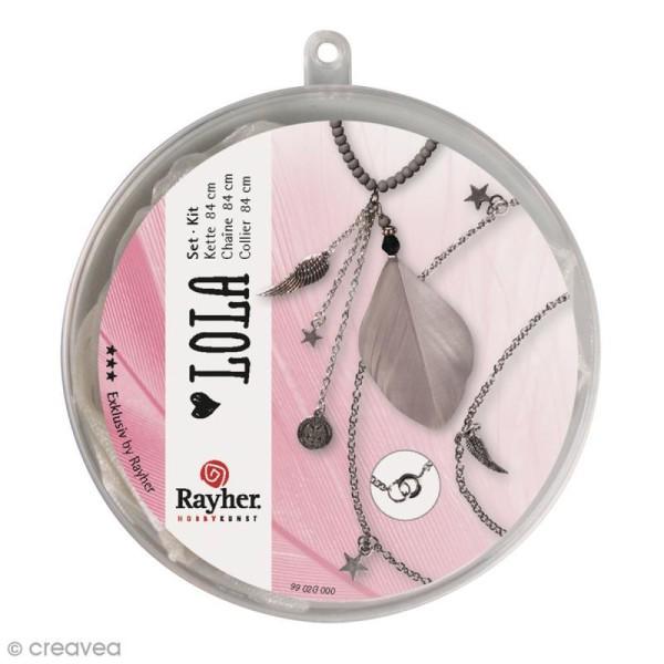 Kit bijoux - Chaine 84 cm avec plume et pendentifs - Photo n°2