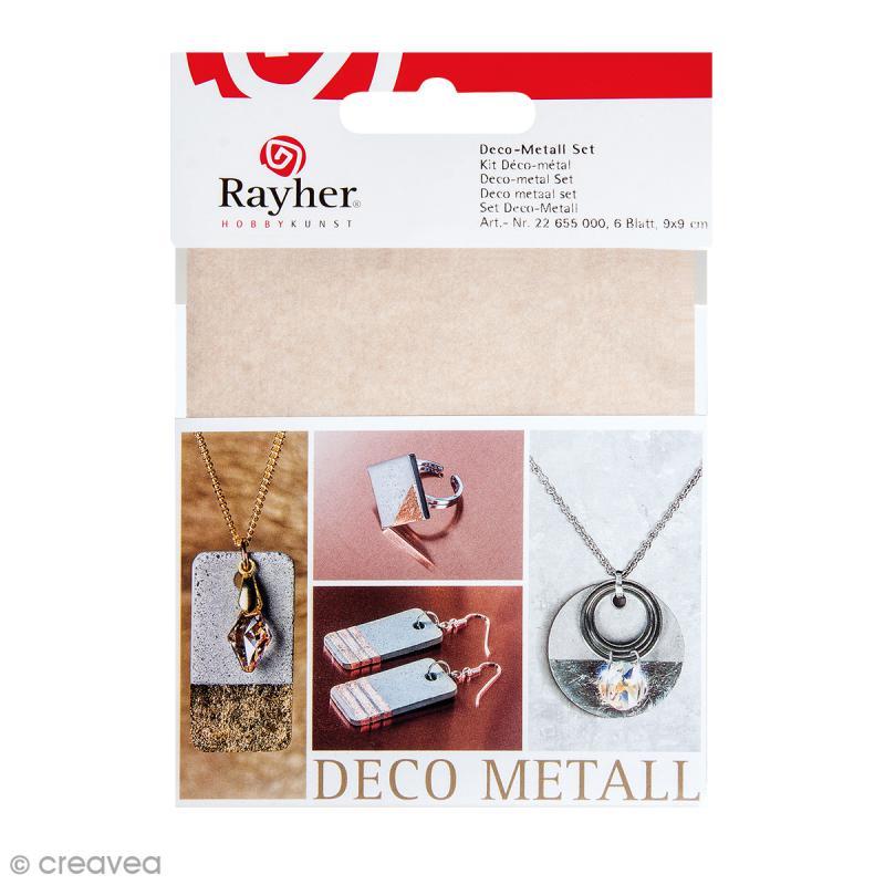 Kit Déco Métal - Doré, cuivré et argenté - 6 feuilles de 9 x 9 cm - Photo n°1