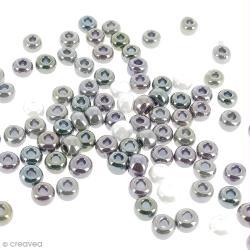 Assortiment de perles à grands trous opaques nacrées - 8,7 mm - Environ 100 perles