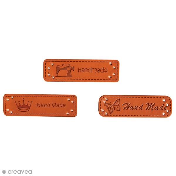 Etiquettes à coudre - Simili cuir - Handmade - 49 x 15 mm - 3 pcs - Photo n°1