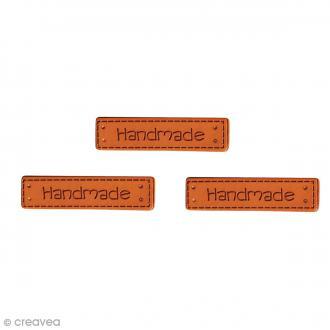 Etiquettes à coudre - Simili cuir - Handmade - 40 x 10 mm - 3 pcs