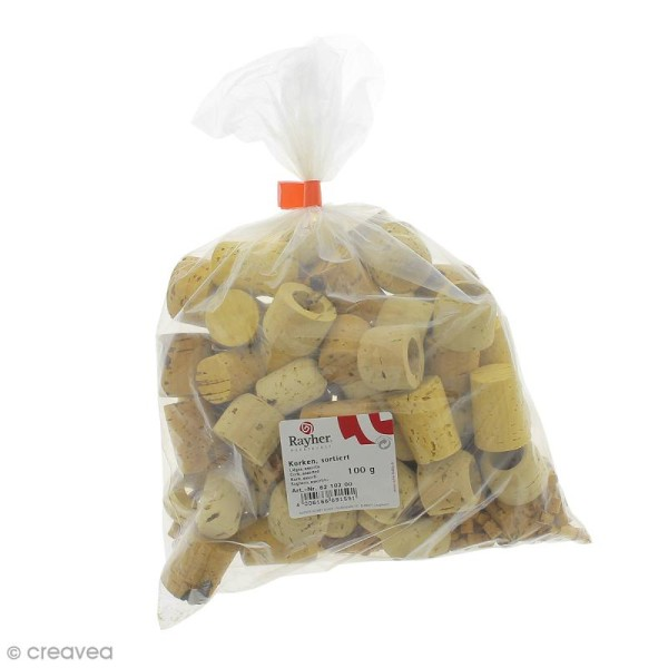 Assortiment de bouchons en liège - Sachet de 100 g - Photo n°1
