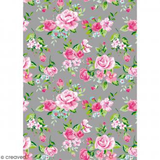 Décopatch Gris et rose N° 716 - 1 feuille