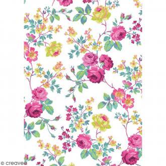 Décopatch Blanc et rose N° 718 - 1 feuille