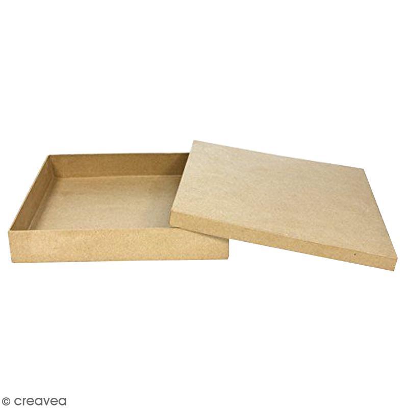 Bo te carr d corer 21 x 21 x 4 cm boite en papier mach d corer creavea - Boite en carton a decorer ...
