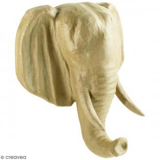 Tête éléphant à décorer - 38 x 30 x 16 cm