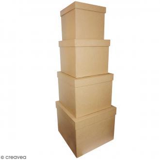 Boîtes carrées à décorer - 25 x 20 cm - 4 pcs
