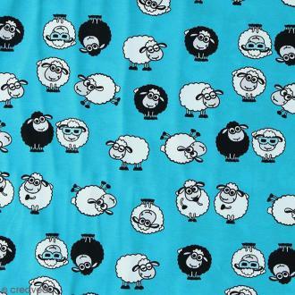 Tissu Jersey Little Darling Moutons Bleu - A la coupe par 10 cm (sur mesure)