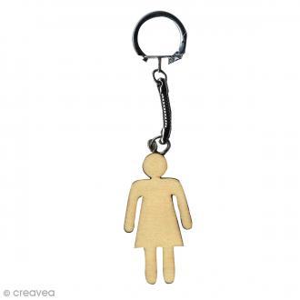 Porte clé à décorer en bois - Madame