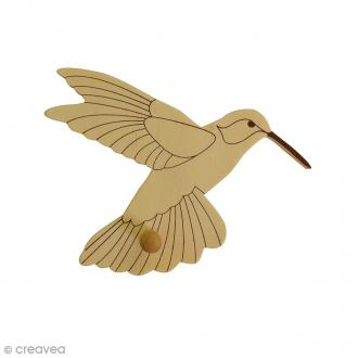 Patère en bois Oiseau Colibri