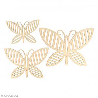Silhouette en bois 9 à 15 cm - Papillons Lignes - 3 pcs