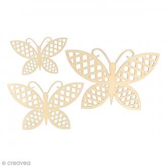 Silhouette en bois 9 à 15 cm - Papillons Grilles -  pcs
