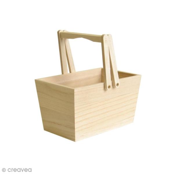Panier en bois à décorer - 16 x 10 x 9 cm - Photo n°1