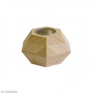Bougeoir géométrique Hexagone en bois - 9 x 6,5 cm