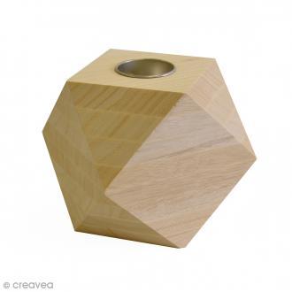 Bougeoir géométrique Diamant en bois - 11,5 x 11,5 cm