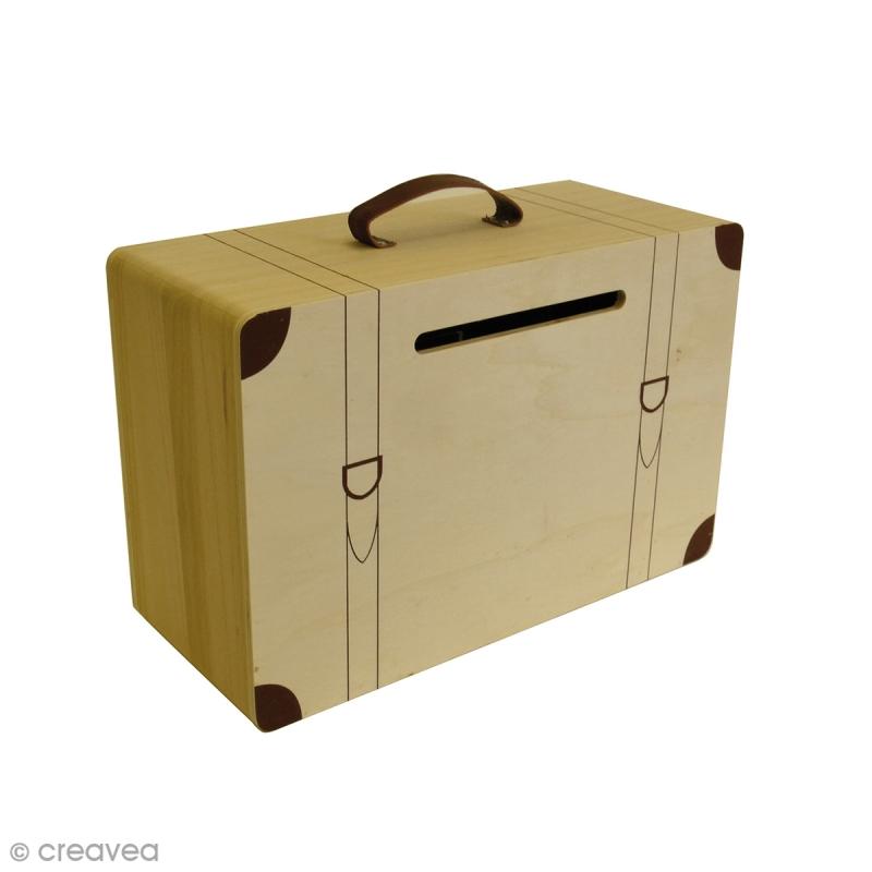 urne valise en bois 35 cm urne d corer creavea. Black Bedroom Furniture Sets. Home Design Ideas