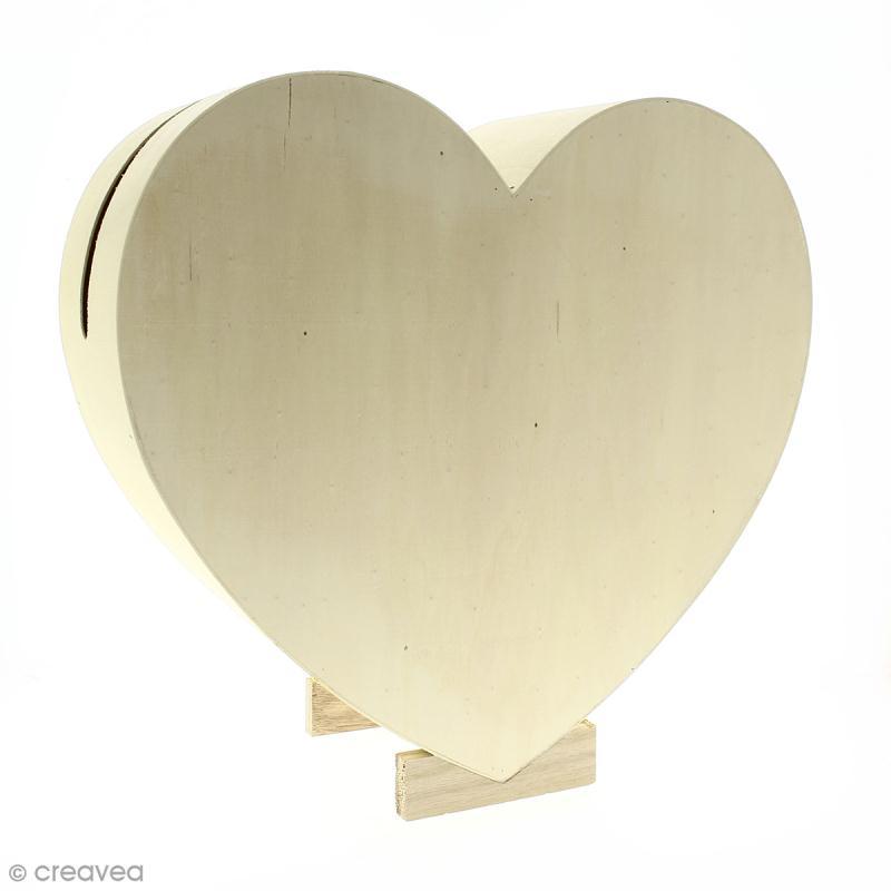 urne coeur en bois 35 cm urne d corer creavea. Black Bedroom Furniture Sets. Home Design Ideas