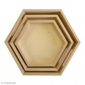 Set 3 plateaux hexagonaux à décorer - De 24,5 à 35 cm