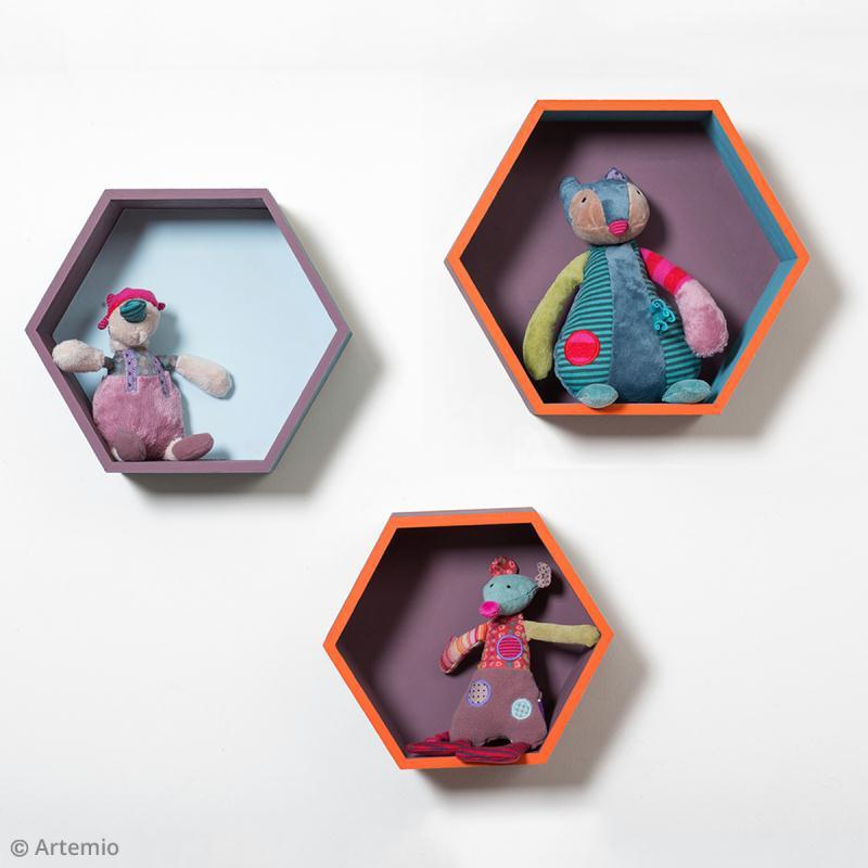 Set 3 étagères hexagonales à décorer - De 24 à 30 cm - Photo n°3