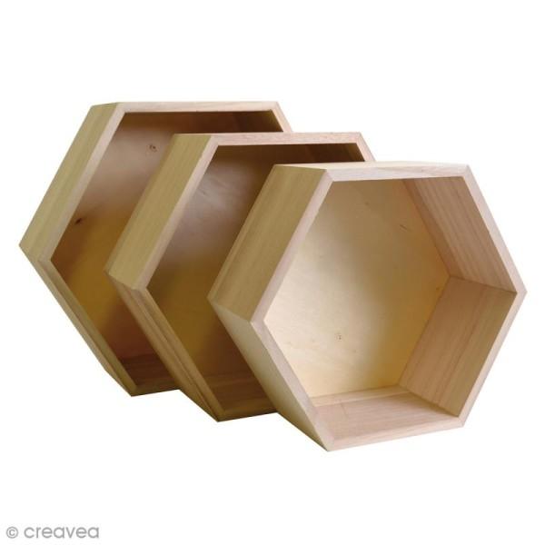 Set 3 étagères hexagonales à décorer - De 24 à 30 cm - Photo n°2