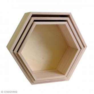 Set 3 étagères hexagonales à décorer - De 24 à 30 cm