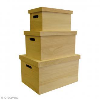 Set de 3 caisses avec couvercles à décorer - De 28 x 17 cm à 40 x 29 cm