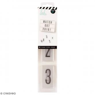 Diapositives nombres pour lightbox - Noires - 50 pcs