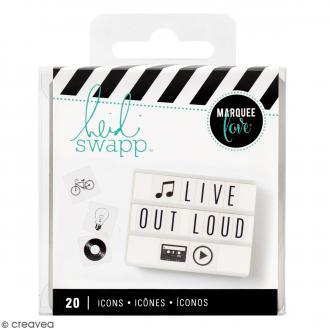Diapositives icônes pour lightbox - Noirs - 20 pcs