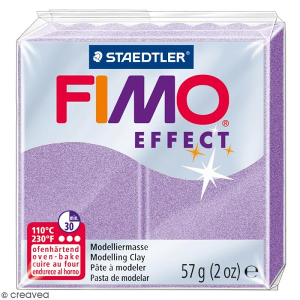 Pâte Fimo effect Violet lilas perle 607 - 57 gr - Photo n°1