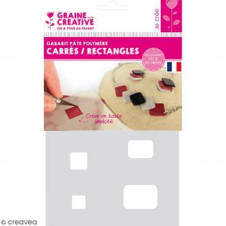 Gabarits pour pâte polymère - Carrés et rectangles - 8 formes