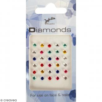 Bijoux de peau Diamants multicolores - 30 pcs