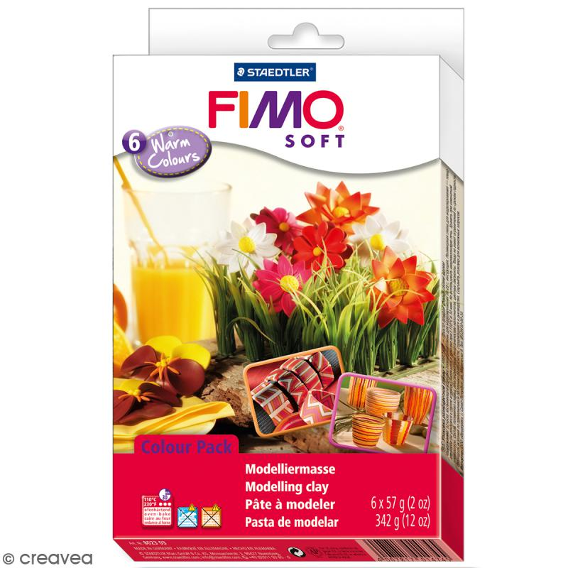 Coffret Fimo Soft - Couleurs chaudes - 6 pains de 57 g - Photo n°1