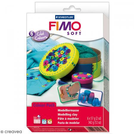 Coffret Fimo Soft - Couleurs froides - 6 pains de 57 g - Photo n°1