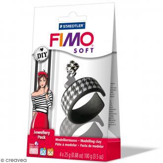 Kit pâte Fimo Soft - Bijoux Noirs & Blancs