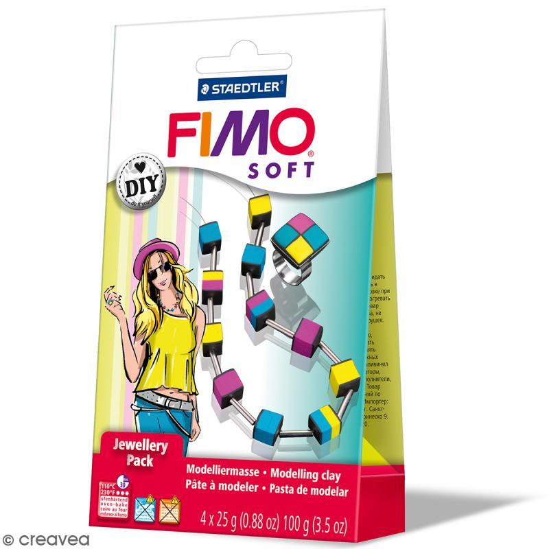 Kit pâte Fimo Soft - Bijoux Cubes - Photo n°1